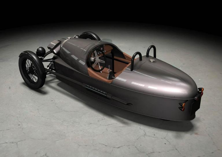 vista trasera morgan three wheeler
